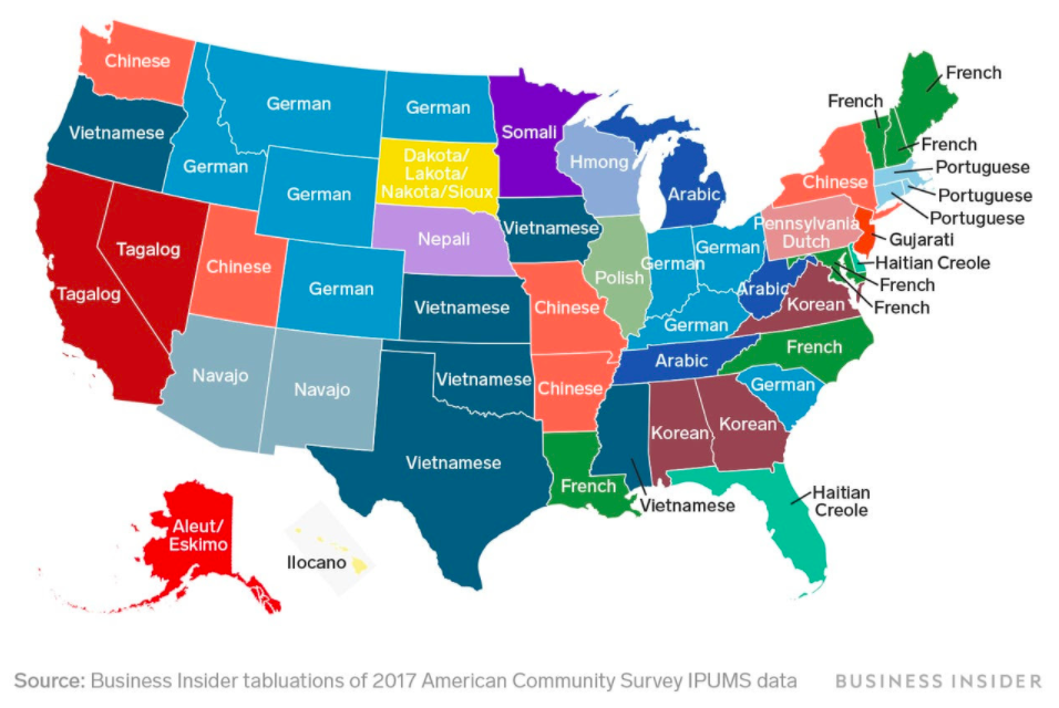 Languages spoken at home other than English and Spanish