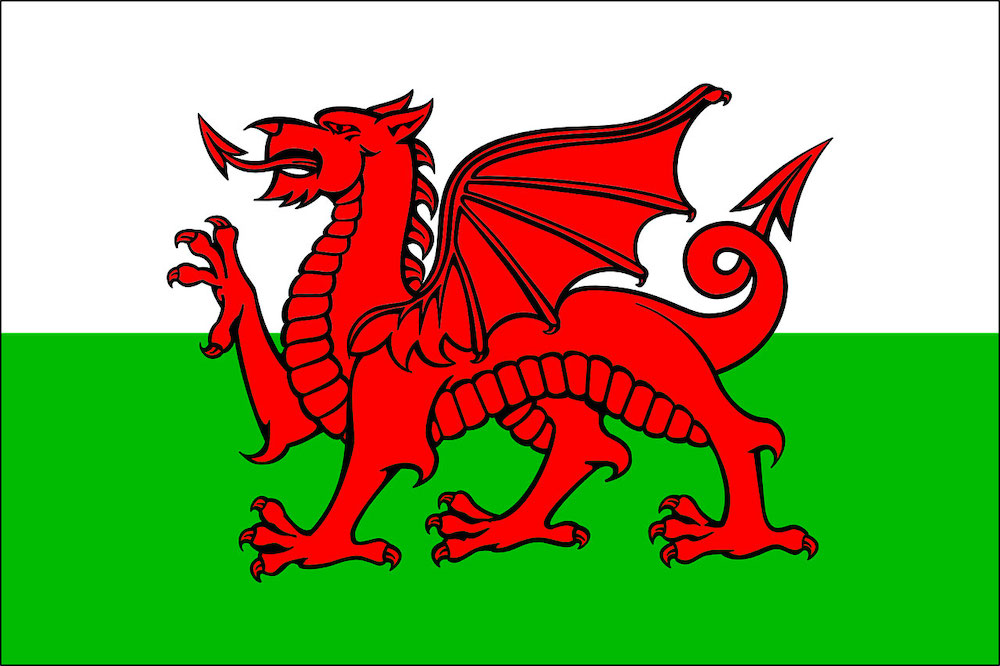 Languages of UK - Welsh language with Wales flag